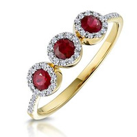 Ruby and Diamond Halo Trilogy Ring 18K Gold - Asteria Collection