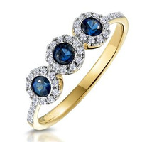 Sapphire and Diamond Halo Trilogy Ring 18K Gold - Asteria Collection