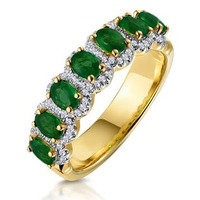 Emerald and Diamond Halo Eternity Ring 18K Gold - Asteria Collection