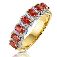 Ruby and Diamond Halo Eternity Ring in 18K Gold - Asteria Collection