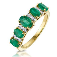 1.30ct Emerald and Diamond Eternity Ring 18K Gold - Asteria Collection