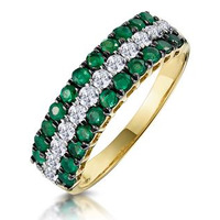 Emerald and Diamond Triple Row Asteria Eternity Ring in 18K Gold