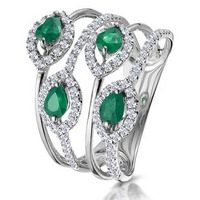 Emerald and Diamond Halo Statement Ring 18KW Gold - Asteria Collection