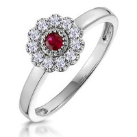 Ruby and Diamond Halo Ring in 18K White Gold - Asteria Collection