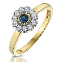 Sapphire and Diamond Halo Ring in 18K Gold - Asteria Collection