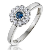Sapphire and Diamond Halo Ring in 18K White Gold - Asteria Collection