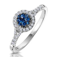 Sapphire and Diamond Halo Circle Ring 18KW Gold - Asteria Collection