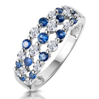 Sapphire and Diamond 3 Row Ring in 18K White Gold - Asteria Collection