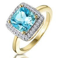2ct Blue Topaz and Diamond Statement Ring 18K - Asteria Collection