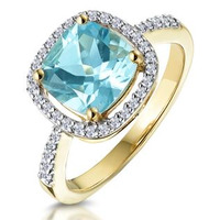 2ct Blue Topaz and Diamond Shoulders Asteria Ring in 18K Gold