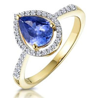 Tanzanite and Diamond Pear Halo Ring in 18K Gold - Asteria Collection