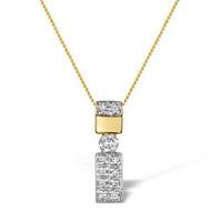 Diamond 0.24ct 9K Gold Single Stone Pendant - RTC-G3674