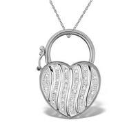 0.13ct Diamond and 9K White Gold Heart Earrings