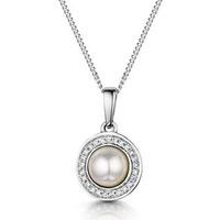 Pearl and Diamond Halo Stellato Pendant in 9K White Gold