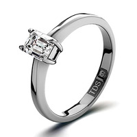 Diamond Engagement Ring Emerald Cut 18K White Gold 0.25CT-G-H/SI