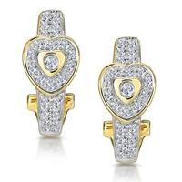0.37ct Diamond Pave Heart Earrings in 9K Gold