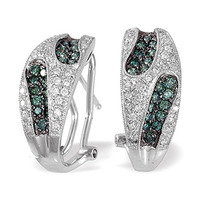 Blue Diamond And 0.30CT Diamond Earrings 9K White Gold