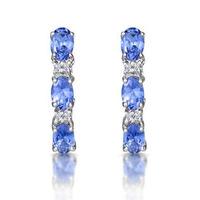 Tanzanite 1.02CT And Diamond 9K White Gold Earrings