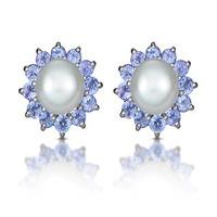 Tanzanite And Pearl 9K White Gold Earrings