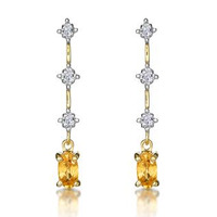 Yellow Sapphire 0.52CT And Diamond 9K Yellow Gold Earrings