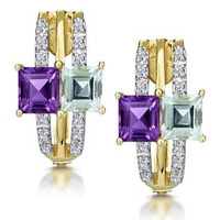 Princess Amethyst and Diamond Earrings in 9K Gold