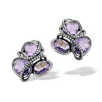 10ct Amethyst 0.28ct Diamond and 9K White Gold Earrings -  H4545