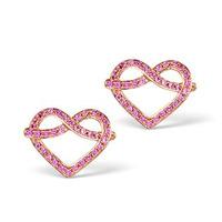 Vivara Collection Pink Sapphire 9K Rose Gold Heart Earrings H4575