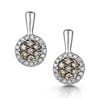 Stellato Champagne Diamond Halo Earrings 0.27ct in 9K White Gold