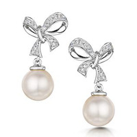 Pearl and Diamond Bow Stellato Earrings 0.10ct in 9K White Gold