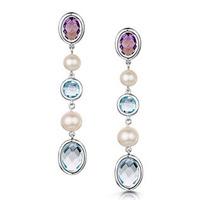 Pearl Amethyst and Blue Topaz Stellato Earrings in 9K White Gold