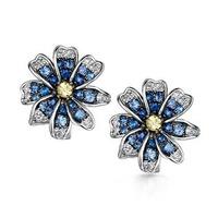 Sapphire Yellow Sapphire and Diamond Stellato Earrings 9K White Gold