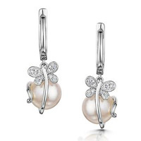 9mm Button Pearl and Diamond Stellato Earrings in 9K White Gold
