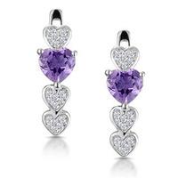 0.64ct Amethyst and Diamond Stellato Heart Earrings in 9K White Gold