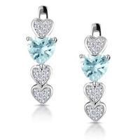 0.60ct Aqua Marine and Diamond Heart Stellato Earrings - 9K White Gold