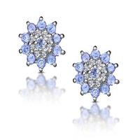 Tanzanite 0.52CT And Diamond 9K White Gold Earrings