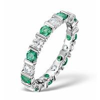 Emerald 1.10ct And H/SI Diamond Platinum Eternity Ring