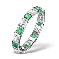 Emerald 1.20ct And G/VS Diamond 18KW Gold Eternity Ring