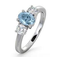 Aquamarine 0.70ct and Diamond 0.50ct Platinum Ring