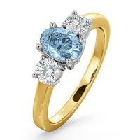 Aquamarine 0.70ct and Diamond 0.50ct 18K Gold Ring