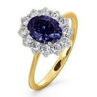 Tanzanite 8 x 6mm And Diamond 18K Gold Ring