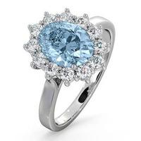 Aquamarine 1.70ct and Diamond 1.00ct Platinum Ring