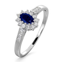 Sapphire 5 x 3mm And Diamond 9K White Gold Ring