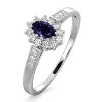 Tanzanite 5 x 3mm And Diamond 9K White Gold Ring