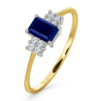 Sapphire 6 x 4mm And Diamond 18K Gold Ring