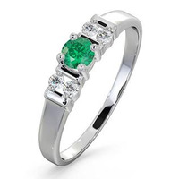 Emerald 3.75mm And Diamond 9K White Gold Ring