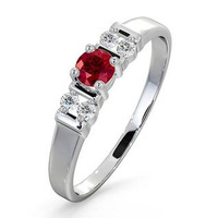 Ruby 3.75mm And Diamond 9K White Gold Ring