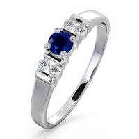 Sapphire 3.75mm And Diamond 18K White Gold Ring