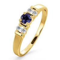 Tanzanite 3.75mm And Diamond 9K Gold Ring