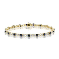 9K Gold Diamond and Sapphire Claw Set Link Bracelet