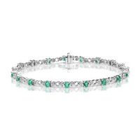 9K White Gold Diamond and Emerald Claw Set Link Bracelet
